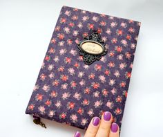 Wonderful cute handmade notebook with metal frame on cover in romantic style. The inscription in the frame can be any - personalize your