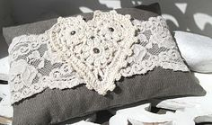 Lavender sachet with lace and crochet heart.