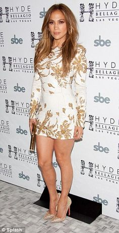 Dressed to the nines: Jennifer wore a metallic and white mini dress at Hyde Bellagio to celebrate the launch of her new single Goin' In