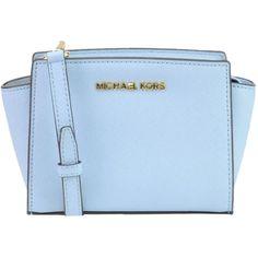 Michael Michael Kors Selma Mini Messenger Bag ($133) ❤ liked on Polyvore featuring bags, messenger bags, mini bag, blue bag, leather zip bag and zipper messenger bag