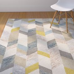 Langley Street Christine Hand-Tufted Gray/Gold Area Rug Rug Size: Round x Yellow Area Rugs, Beige Area Rugs, Room Rugs, Rugs In Living Room, Dining Rooms, Playroom Rug, Nursery Area Rug, Baby Playroom, Playroom Ideas