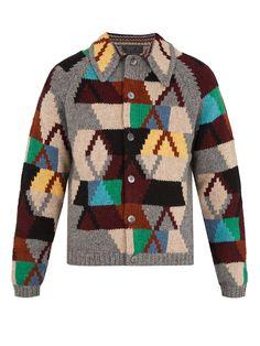 PRADA Geometric-intarsia wool cardigan. #prada #cloth #