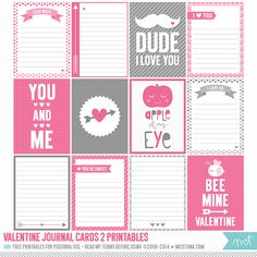 Free Valentine Journal Cards