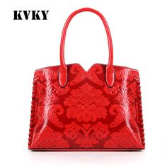 Sky fantasy hot red Chinese style embossed PU classic women shoulder bag vogue fashion cross body girl handbag brand casual tote