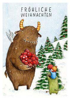 "Weihnachtskarte ""Monsterweihnacht"" // christmas card via DaWanda.com"