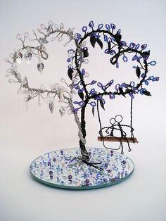 Double Heart Wire Art Tree - Wedding Decoration, Cake Topper, Bridal Shower Gift - Made To Order