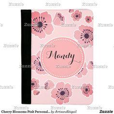 Cherry Blossoms Pink Personalized Padfolio; ArtisanAbigail at Zazzle