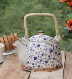 Pyaali Floral Theme Blue Kettle With Handle by Pyaali Online - Tea & Coffee Ware - Kitchen & Dining - Pepperfry Product