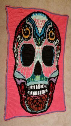 Crochet Sugar Skull Blanket