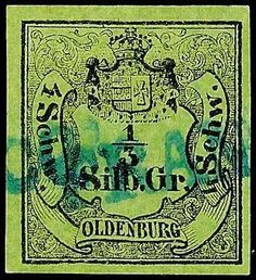 """Old German States Oldenburg, Michel 1. 1 / 3 Silver penny black on green olive, having bright colors and on all sides full to wide margins extremely fine copy with cancellation through two partial strikes of the blue one-line cancel """"FRANCO"""", expertized Pfenninger and photo expertize Walter angel BPP """"genuine and immaculate"""", Michel 1. 200."""