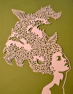 Heather Clements Art: Birds in Her Hair - Paper Cut Kirigami, Collage, Chinese Paper Cutting, Paper Cutting Patterns, Paper Artwork, Paper Quilling, Quilling Comb, Neli Quilling, Stencil Art