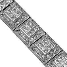 14K White Gold Mens Diamond Bracelet 21.77 Ctw | Your #1 Source for Jewelry and Accessories
