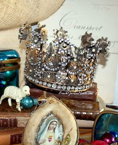 ❥ French Reproduction Gilded Jeweled Santos Religious Crown