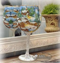 lampiony_asket5 (500x530, 193Kb) Handmade Christmas Decorations, New Years Decorations, Christmas Balls, Christmas Art, Arts And Crafts Projects, Diy Crafts, Christmas Decoupage, Decoupage Glass, Wine Glass Crafts