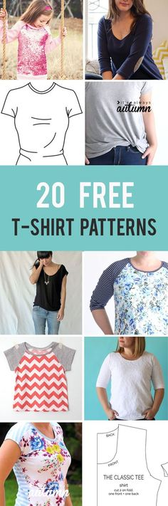 20 free t-shirt patterns you can print and sew at home! Free sewing patterns for women's t-shirts, kids t-shirts, mens t-shirts. #tshirtdiyeasy