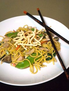 Healthy Chicken Chow Mein, inspired by Cooking Light!