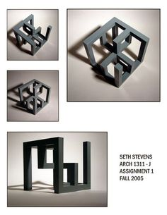 The Assignment was to make a cube that was in dimension. this is what I came up with It has a diagonal symmetrial axis and the sides consist of Cubical Model Concept Models Architecture, Conceptual Architecture, Art And Architecture, Architecture Geometric, Geometric Sculpture, Abstract Sculpture, Solid Geometry, Cube Design, Arch Model