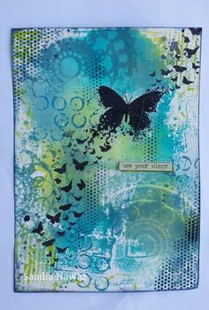 Art journal and Mixed Media projects: A journal page Flight of Butterflies