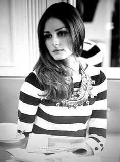 Olivia Palermo stripes with statement necklace