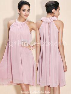TS Ruffle High Neck Pleated Dress - USD $ 34.99