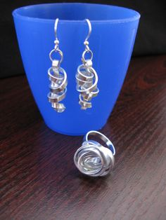 flat aluminium wire, ring and earrings