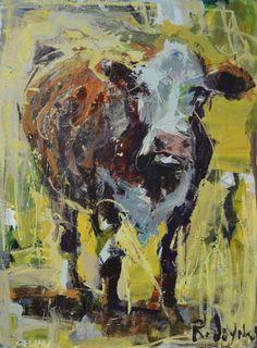"""Large Canvas Abstract Cow Painting, mixed media on canvas, measures 40"""" x 30"""""""