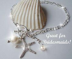 Starfish and Pearl Charm  Bracelet or Anklet- Bridesmaid Bracelet - Beach Wedding. $20.00, via Etsy.