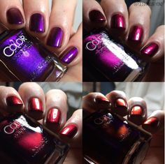 Color Club: ⭐ Well Never Be Royals ⭐ ... a trichrome nail polish that shifts from purple, to a bright magenta, to a gorgeous red shade, and then to a vibrant orange ... from the Oil Slick Collection