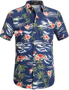 Mens Printed Casual Button-Down Shirts,Tropical Hawaiian Quick Dry Short Sleeve Beach Shirt Yellow