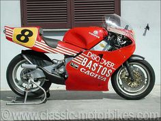 1987 Cagiva 500 GP (C 587) (Raymond Roche)1987 Cagiva 500 GP (C 587) (Raymond Roche) This magnificent Cagiva 500 cc (type: C 587) was run by the official Cagiva Bastos team in the 1987 world championship. The team manager at that time was the Belgian Francis Batta.  Powered by two stroke, V4 liquid cooled engine which develops over 160 hp for a maximum straight line speed of more than 300 km/h.