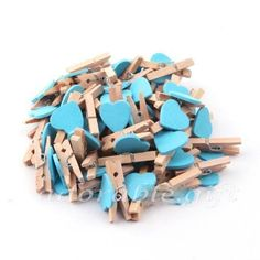 50x Baby Blue Heart 3cm Mini Wooden Pegs Clips Party Favour Lolly Bag NEW 4.71