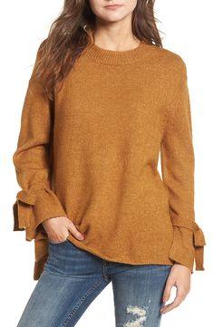 mustard tie sleeve sweater