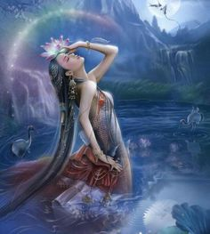 Ki is the Sumerian Goddess of the earth. In Sumerian mythology, she is the daughter of Nammu, Sacred Feminine, Divine Feminine, Mythological Creatures, Mythical Creatures, Art Steampunk, Art Magique, Water Fairy, Religion, Sumerian