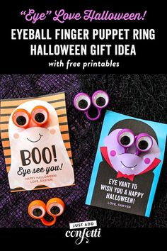 "This ""Eye Love Halloween"" Eyeball Finger Puppet Ring Halloween Gift Idea is so easy to assemble. All you need are the finger puppet rings and my free printable! This non-candy, non-food halloween treat, would make the perfect addition to your kid's classr"