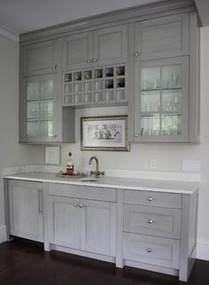 Grey Butlers Pantry with Built In Wine Rack, Transitional, Kitchen