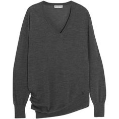 Balenciaga Wool, silk and cashmere-blend sweater ($555) ❤ liked on Polyvore featuring tops, sweaters, wool v neck sweater, woolen sweater, silk sweater, charcoal v neck sweater and wool sweaters