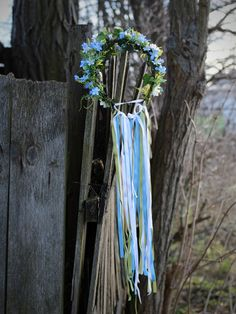 Haarkranz mit blauen Blumen, Haarschmuck für die Braut / hair wreath with blue flowers for the bride made by Magaela via DaWanda.com