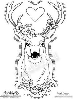 Stag and Flowers Hand Embroidery Pattern by badbird on Etsy, $10.00