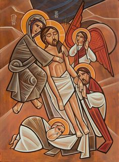 Taking Jesus off the cross after the crucifixion Images Of Christ, Religious Images, Religious Icons, Religious Art, Biblical Art, Holy Week, Catholic Art, Orthodox Icons, Sacred Art