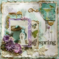 Mixed Media Tutorial  by Gabrielle Pollacco using Bo Bunny's Enchanted Garden collection papers and embellishments