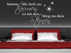 Für alle Träumer gibt es bei uns das Sprüche Wandtattoo Nimm dir Zeit zu träumen. Der Wandtattoo Spruch Nimm dir Zeit... ist eine tolle Idee für die Wand Deko im Schlafzimmer.