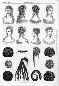 Fashion plate from Harper's Bazaar 1867 showing fashionable hair styles and the use of false chignons and ringlets to assemble the styles.