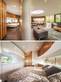 Although the design of this modern house means that the bedroom is connected to the rest of the interior, a sliding hatch can be closed to separate the bedroom and the rest of the home and provide a little bit of privacy.
