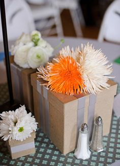 Beautiful Orange and White-Orange Spider Mums wedding decorations. DIY weddings!