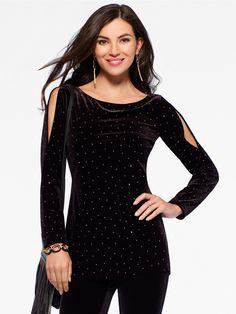 Black Velvet Cold Shoulder Tunic - Cache