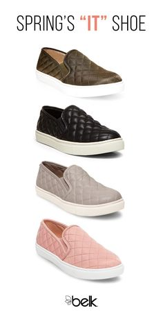 """Spring's """"it"""" shoe: fashion sneakers. From day dresses to distressed jeans, these cute kicks will pair with all of your favorite outfits. Whether metallic, pastel, suede or canvas, slip them on anytime for a perfect dose of casual-chic style. Shop these Steve Madden sneaks in stores or at Belk.com."""