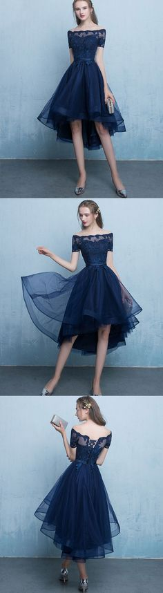 Prom Dress Princess, Dark blue lace tulle short prom dress, high low evening dress Shop ball gown prom dresses and gowns and become a princess on prom night. prom ball gowns in every size, from juniors to plus size. Pageant Dresses For Teens, Lace Homecoming Dresses, Tulle Prom Dress, Ball Dresses, Party Dress, Wedding Dresses, Trendy Dresses, Nice Dresses, Dark Blue Bridesmaid Dresses