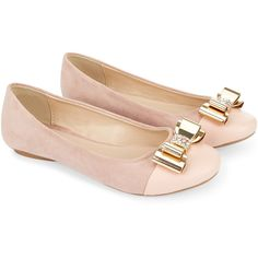 Monsoon Gold Bow Ballerina (£29) ❤ liked on Polyvore featuring shoes, flats, studded ballet flats, cap toe ballet flats, ballet pumps, ballet flats and ballerina flats