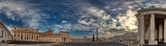 Piazza San Pietro panorama - This is a 300 degrees panorama of Piazza San Pietro in Roma, Italia.  It's morning time and the sun plays tricks  behind the clouds and through  the massive collumns.  It's a place, everyone should visit some day. Full of history, full of energy and finezza - as Italians say...