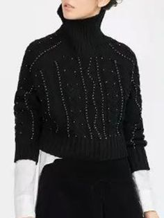 Black High Neck Beaded Cable Knit Sweater